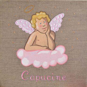 Immagine quadro soggetto Angelo con nuvola colore rosa adatto ad una bambina