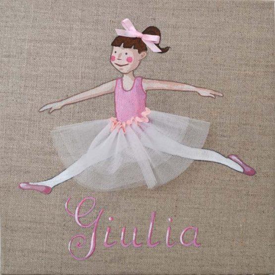 Immagine quadro soggetto Ballerina con tutu colore rosa adatto ad una bambina