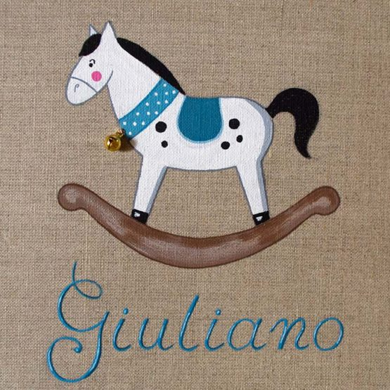 cavallo a dondolo celeste dipinto a mano su tela di lino