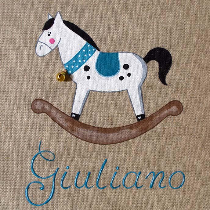 Cavallo A Dondolo Artigianale.Cavallo A Dondolo Celeste