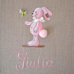Immagine quadro soggetto Coniglio con pompon colore rosa adatto ad per una bambina
