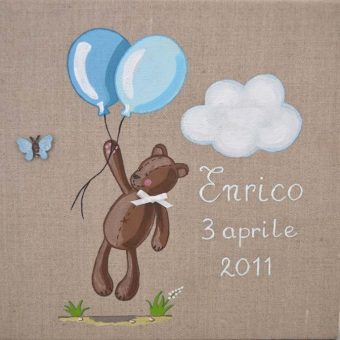 Immagine quadro soggetto Orsetto volante con palloncini di colore celeste adatto aun bambino