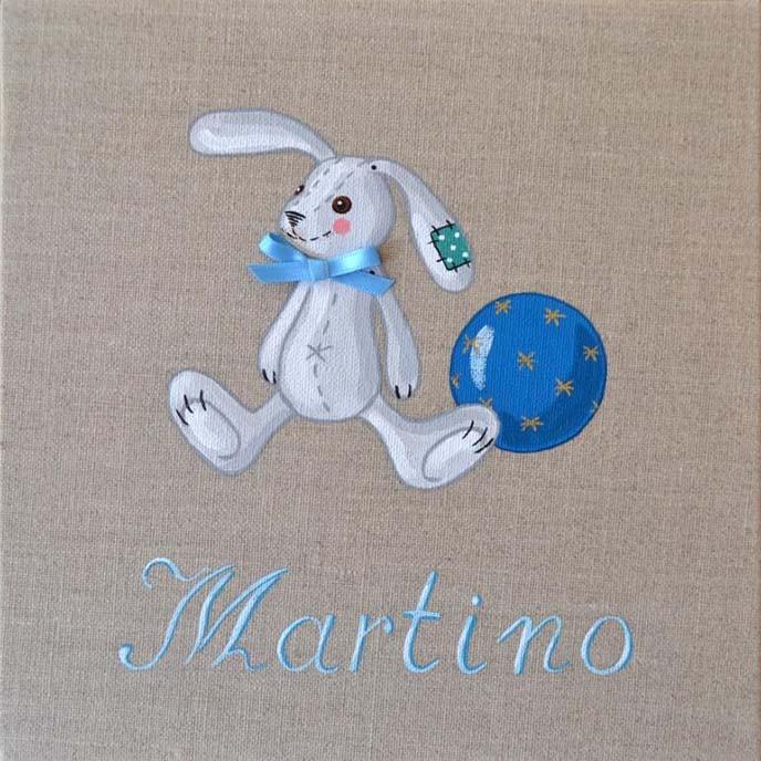 Immagine quadro soggetto Coniglio con palla colore blu adatto ad per un bambino