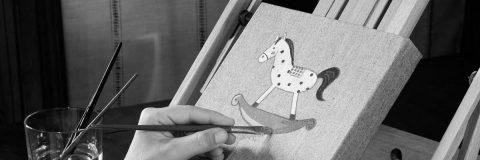 quadretto dipinto a mano bambino la vie à pois