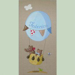 Immagine quadro soggetto Orsetti che volano in mongolfiera