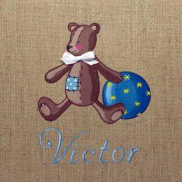 Immagine quadro soggetto Orsetto con palla di colore blu adatto ad un bambino
