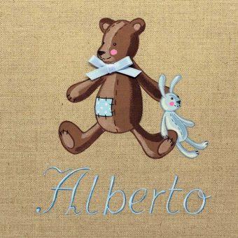 Immagine quadro soggetto Orsetto con peluche di colore blu adatto ad un bambino
