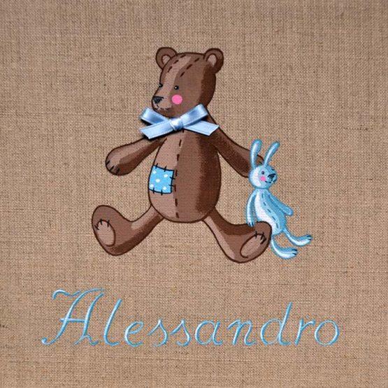 Orsetto con peluche dipinto a mano su tela di lino