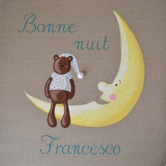 Immagine quadro soggetto Orsetto seduto sulla luna che augura la buona notte