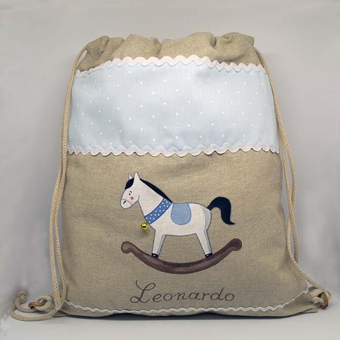 Cavallo A Dondolo Artigianale.Zaino Cavallo A Dondolo Celeste