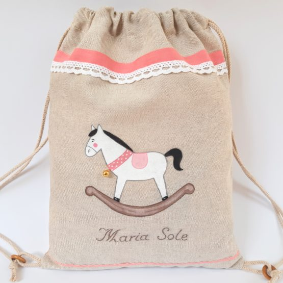 zaino cavallo a dondolo rosa