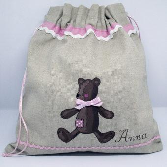 sacco con orsetto rosa