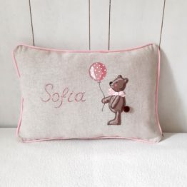 customizable cushion with hand-painted name teddy bear